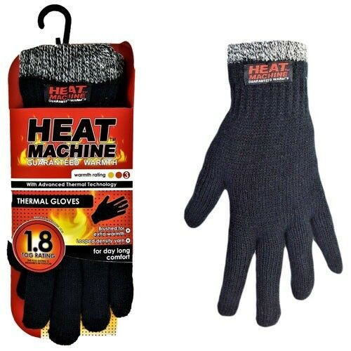 Heat Machine M//lar Mens Winter Knitted 1.8 Tog Double Insulated Thermal Gloves
