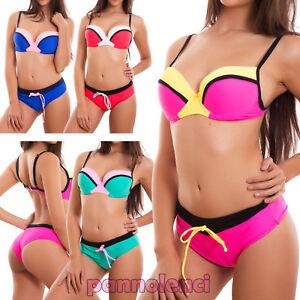 Bikini-donna-costume-bagno-mare-due-pezzi-culotte-push-up-curvy-nuovo-DY7355