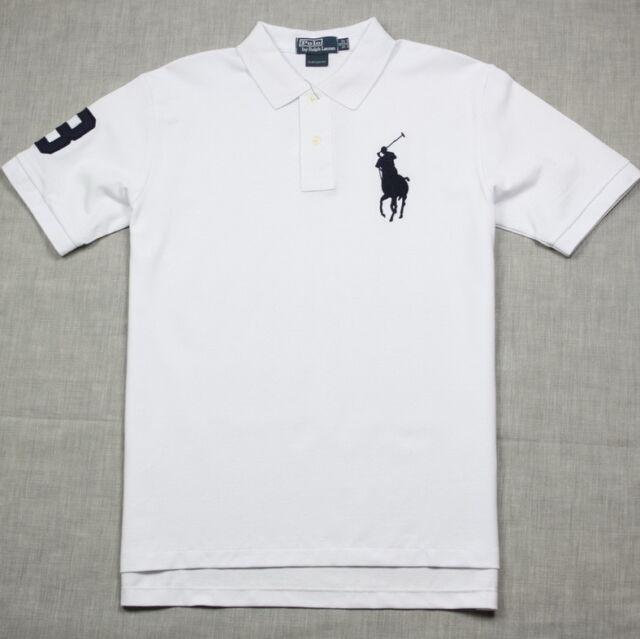New Polo Shirt Ralph Lauren Custom Fit Big Pony Men's White / Navy
