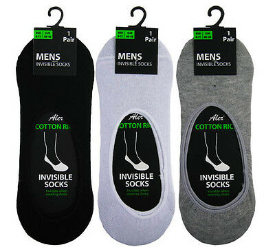 3 Pairs Adults Mens Plain Invisible Trainer Socks No Show Shoe Liners 6-11