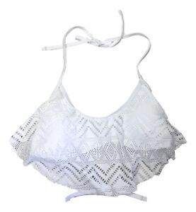 So-Size-XSmall-Small-Medium-White-Crochet-Ruffle-Flounce-Halter-Bikini-Swim-Top