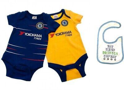 Chelsea FC Official Football Gift 2Pk Home Away Kit Baby Bodysuits Blue