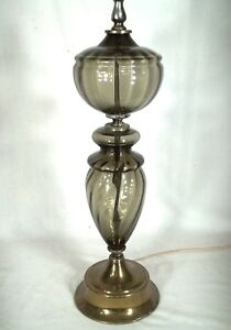 A-VINTAGE-MID-CENTURY-SMOKED-GLASS-VICTORIAN-OIL-STYLE-LAMP