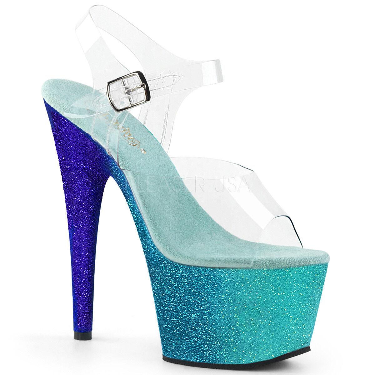7  blu Rainbow Mermaid Platform Stripper Adore-708Ombre Pleaser scarpe Heels