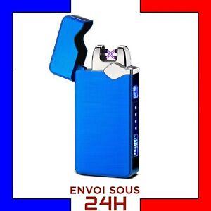 Briquet-Arc-Electrique-USB-Tempete-plasma-rechargeable-coupe-vent-sans-gaz-Bleu