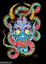 COLEMAN-STICKER-TATTOO,FLASH,COMIX,MONSTERS,SKATEBOARD,ONI,DEMON,HANNYA,ED HARDY
