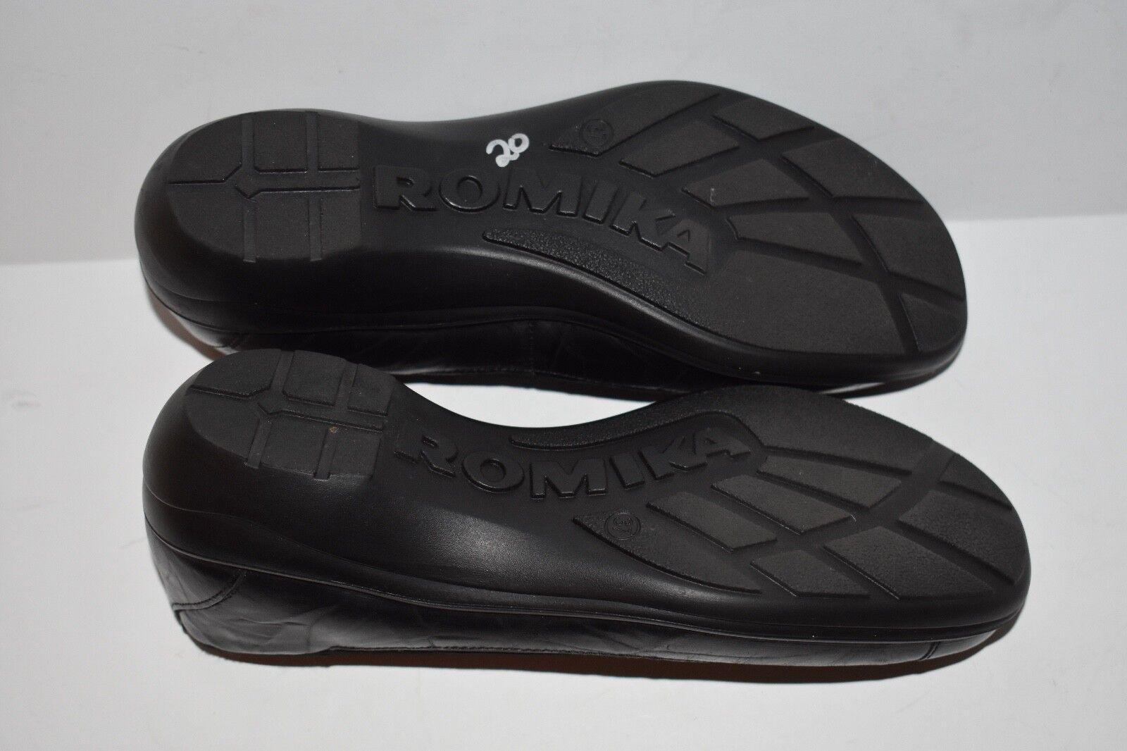 ROMIKA SLIP CASSIE 21 BLACK LEATHER SLIP ROMIKA ON WEDGE BALLET FLAT Größe 37 ab1e79
