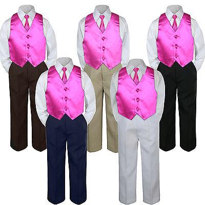 4pc Boys Suit Set Fuchsia Hot Pink Vest Bow Tie Baby Toddler Kids Pants S-7