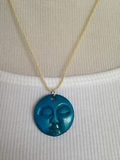 BRAND NEW Hand carved bone full moon face necklace!! Turquoise