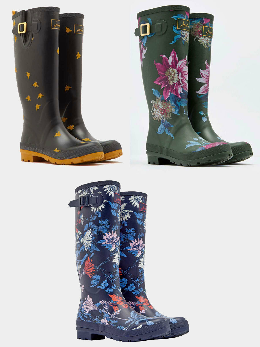 Joules Welly Botas de impresión-negro oliva Clematis, Abeja, French Navy Fay Floral