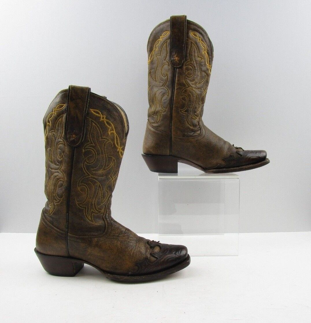 Ladies Tony Lama Brown Leather Square Toe Cowboy Western Boots Size  6.5 B