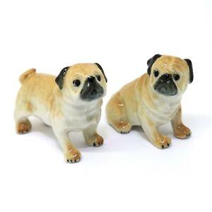 Ceramic-Dollhouse-Miniature-Collectible-Pug-Dog-Figurine-Brown-Set-of-2