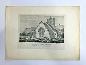 Antique-Engraving-Book-Plate-ALL-SAINTS-CHURCH-HASTINGS-by-George-Rowe