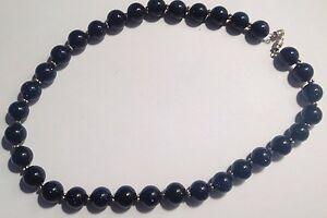 Expressif Collier Vintage Perles De Verre Bleu Nuit Pailletées 380