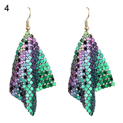 EG/_ Womens Sequins Mesh Dangle Drop Hook Earrings Club Evening Party Jewelry Flo
