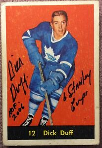 SIGNED-DICK-DUFF-1960-61-PARKHURST-12-INSCRIBED-034-6-STANLEY-CUPS-034-034-HOF-2006-034
