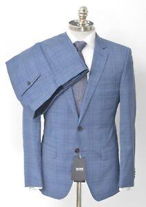 $795 NWT HUGO BOSS Blue Glen Check Guabello Wool Slim Fit Suit 38 R (EU 48)