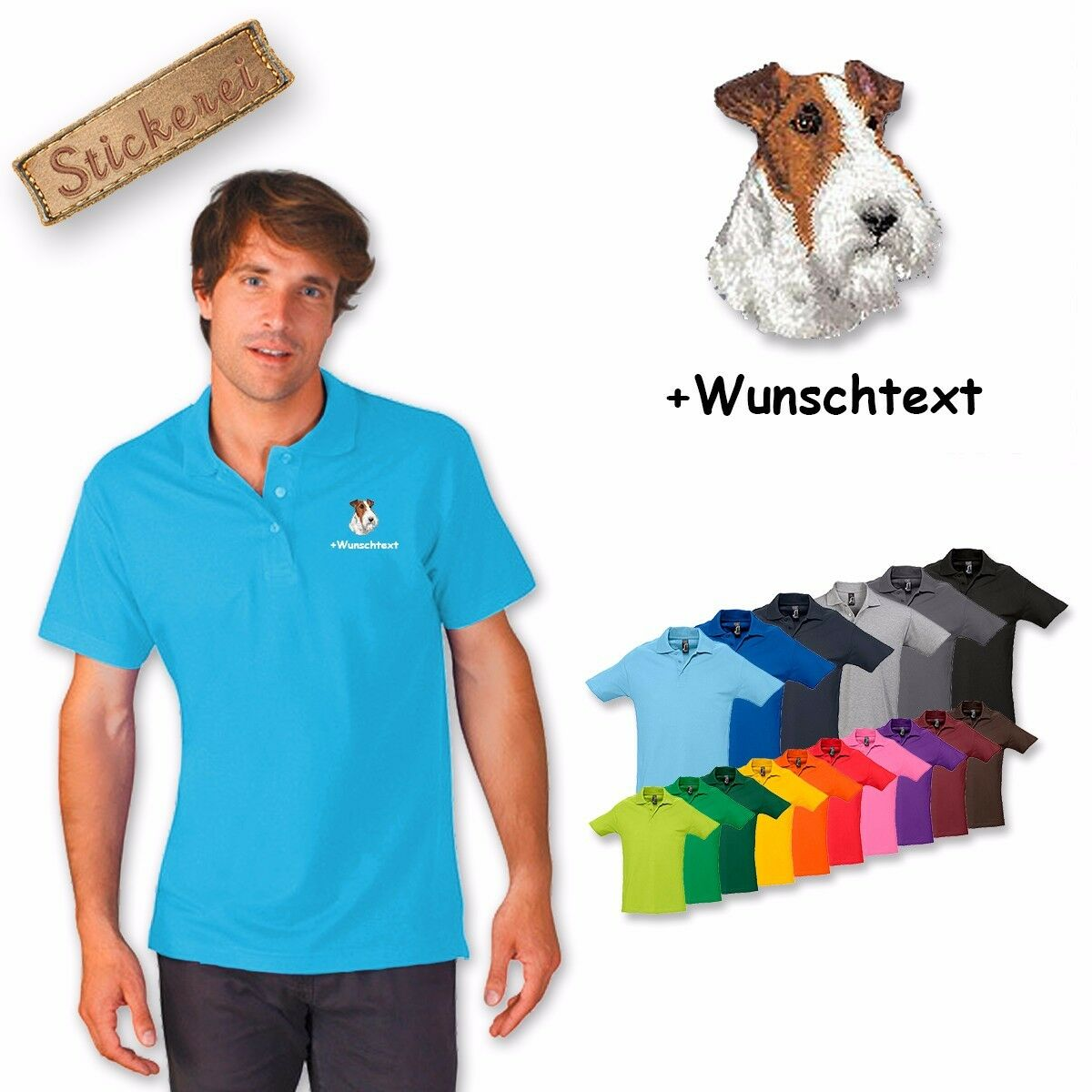 Polo Shirt Shirt Cotton Embroidered Embroidery Fox Terrier + Text of Your Choice