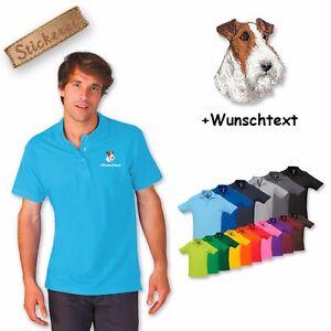 Poloshirt Shirt Baumwolle bestickt Stickerei Fox Terrier + Wunschtext