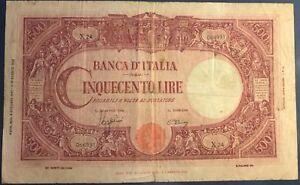 ITALIE-500-LIRE-1943-Billet-de-banque-italien-B