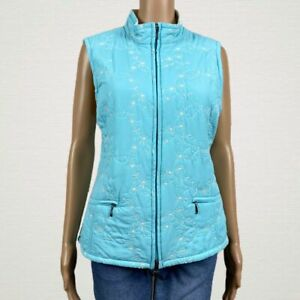 Croft & Barrow Floral Embroidered Zip Vest Jacket MEDIUM Blue White Fleece Lined