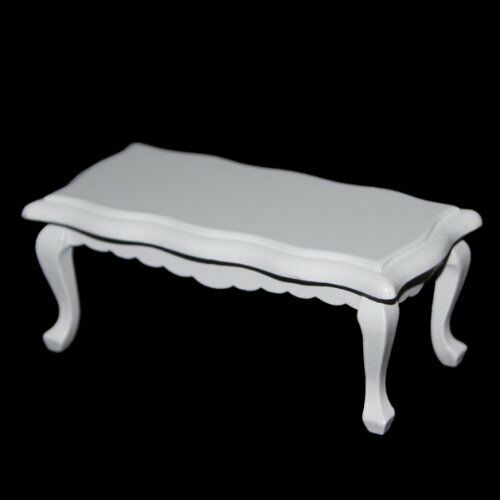 1//12 Dollhouse Miniature Furniture Wave-Edged Wooden Coffe//End Table White T1