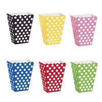 6 Popcorn TREAT BOXES Polka Dots Spots - Birthday Party Favour Loot Paper BagsFG