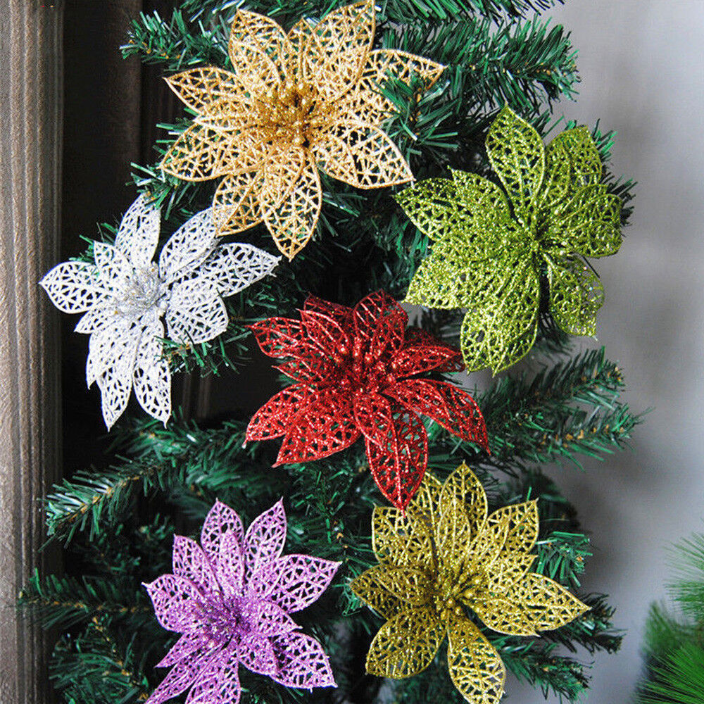 Glittered Hollow Christmas Flowers Wedding Party Decor Xmas Tree Ornaments HGUK