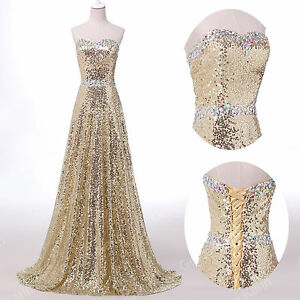 Abito sera Prom Brautjungfern Sposa 46 Party Wedding ~ Paillettes da Prom Gr32 cRExBS