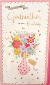 Image Is Loading GODMOTHER BIRTHDAY CARD FLORAL VASE DESIGN QUALITY