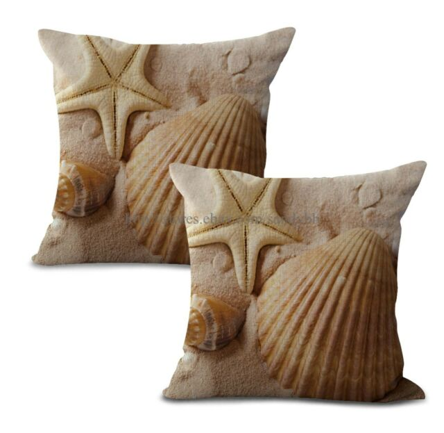 Set Of 2 Beach Seaside Scenery Shells Starfishes Cushion Cover Pillow For Sale Online