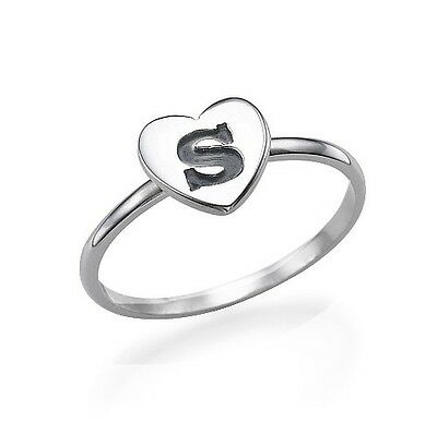 Sterling Silver Heart Engraved Initial Ring