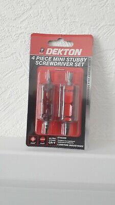 6mm Flat PZ1 Dekton 4 Piece Mini Stubby Screwdriver Set Pozi 4mm PZ2