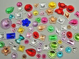 500-Assorted-Flatback-Acrylic-Rhinestone-Gems-Rivoli-Center-Mixed-Color