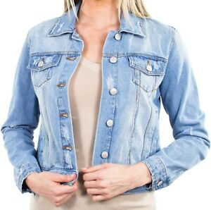 Women-039-s-Juniors-Premium-Distressed-Denim-Long-Sleeve-Jacket