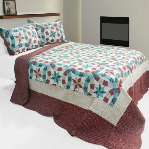 3 PC Falling Snow Constellation Star blue red 100% Cotton Queen Quilt Shams