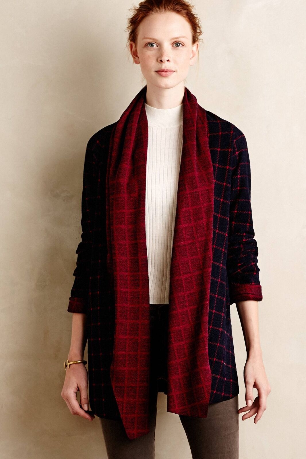 NWT Anthropologie Windowpane Shawl Cardigan Sweater Size M