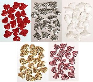 18-Glitter-Sequin-Heart-Embellishments-For-Card-Making-Craft-Choice-Colour