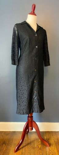 Vintage 1960's Black Lace Button Down Dress With W