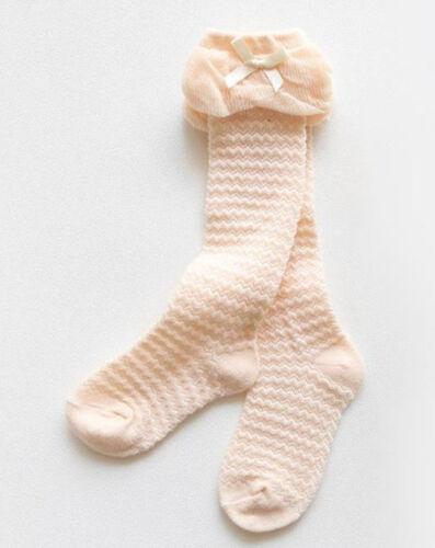 Girl Kid baby White Pink Grey Under knees Calf High long Socks Tights 0-3 Years