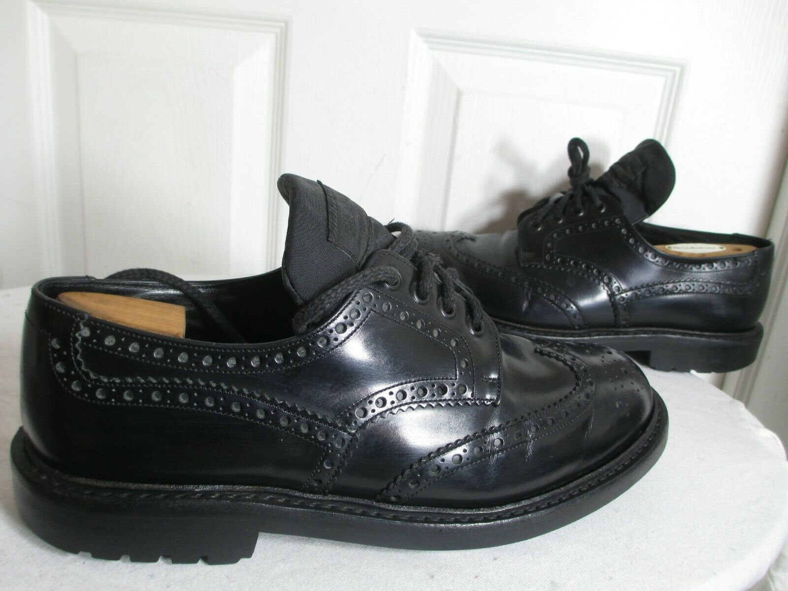 PRADA Homme Commando Noir Cuir Bout D'Aile Derbies 9 2E UE 42 made in England 1495