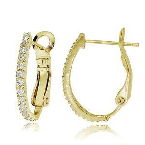 Gold-Tone-over-Sterling-Silver-Cubic-Zirconia-Oval-J-Hoop-Huggie-Earrings-18m