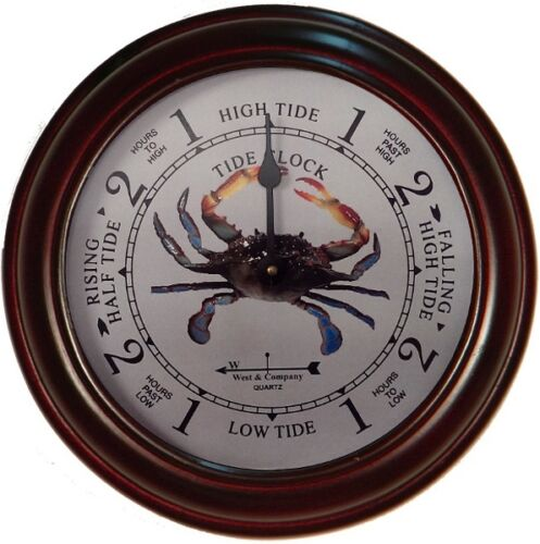 """6/"""" CHERRY CRAB TIDE CLOCK BY WEST /& CO."""