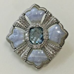 ce9eb464cd557 Details about Judith Ripka 925 Sterling Pendant Brooch Pin with agate, blue  topaz and CZ