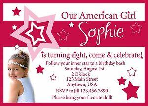 Image Is Loading American Girl Birthday Invitation Invitations