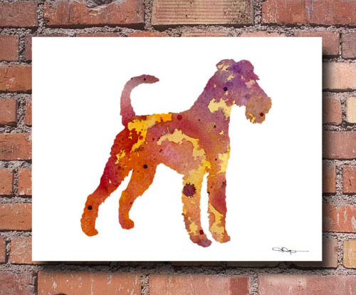 Irish Terrier Abstract Watercolor Painting Art Print by Artist DJ Rogers