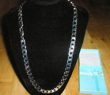 """Men's 22"""" 8mm Silver Plated Stoneless Chain Necklace & Box Birthday Present"""