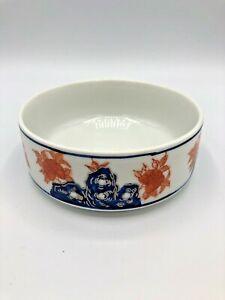 Vintage-Asian-Chinese-Red-amp-Blue-Porcelain-Bowl