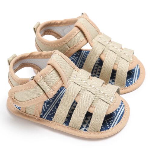 Baby Boy Canvas Crib Shoes First Toddler PreWalkers Summer Sandals Newborn to 18