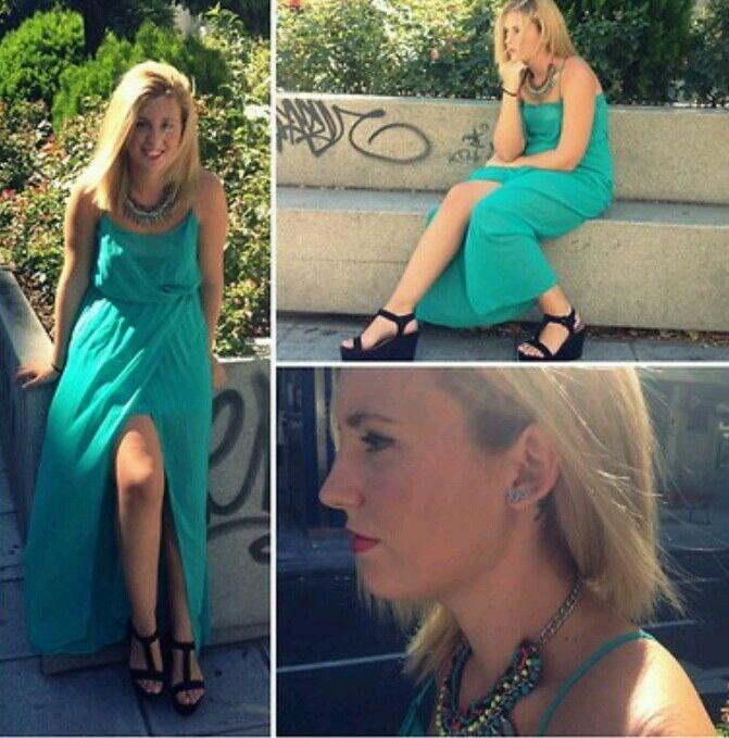 ◆ZARA Maxi Kleid Gr.S M  Blogger Strand  Sommer Urlaub vintage Türkis Neu DRESS
